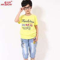 Boys clothing cotton casual short-sleeve 2014 T-shirt capris set child twinset