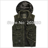 2014 Hot Sale vest men casual waistcoat hooded men's clothing cotton vest 2colors check pattern men fishing vest free shipping