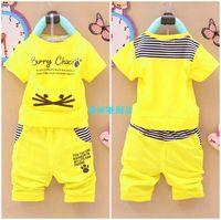 2014 male child set female child summer baby clothing summer clothing clothes 0-1 - 2 - 3
