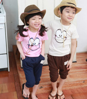 Male girls clothing set 2014 child baby male summer short-sleeve harem pants set