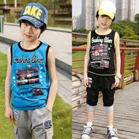 Children's clothing child summer male 2014 child summer set children vest harem pants set 5033