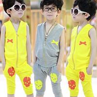 Z clothing male child vest set summer 2014 big boy baby boy summer the boys sports