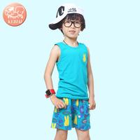 2014 children's clothing set eco-friendly cartoon print vest shorts male child twinset
