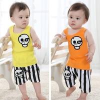 2014 summer baby children children's clothing male child 100% cotton stripe short-sleeve set vest shorts set
