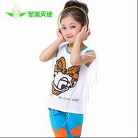 Children's clothing 2014 male female child baby child casual children's clothing summer twinset