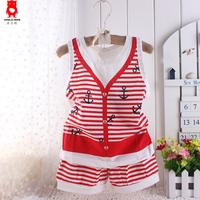 Children's clothing 2014 male female child 100% navy style cotton vest set baby 2