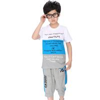 2014 children's clothing male child t-shirt set child capris short-sleeve set fresh type color block summer decoration