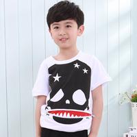Children's clothing 2014 male child set child skull short-sleeve T-shirt capris twinset