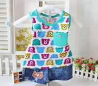 Children's clothing 2014 male child children summer bear set baby cotton 100% 2 piece set outerwear clothing clothes