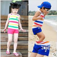 2014 stripe children's clothing vest set male female child t-shirt shorts
