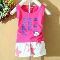 Children's clothing 2014 male female child 100% cotton sleeveless shirt sports set male vest shorts set