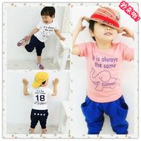 Child short-sleeve set summer baby girls clothing male child t-shirt shorts 2 2014 piece set