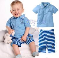 Children's clothing set 2014 100% cotton male child stripe turn-down collar t-shirt shorts male child set