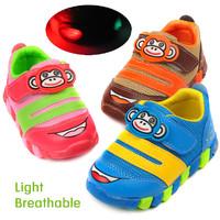 21-25 Size flash LED light shoes children boys girls kid Sports running sneaker shoes baby girl toddler cute Cartoon monkey