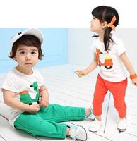 Children's clothing male female child summer child 100% cotton set child cartoon 2014 unisex summer trousers short-sleeve