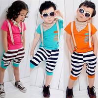 Male short-sleeve child clothing set 2014 summer baby child boy summer xz