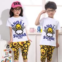 Male child short-sleeve sports set 2014 summer girls clothing child male female child summer set