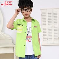 Children's clothing 2014 male child casual short-sleeve shirt vest set child set 117