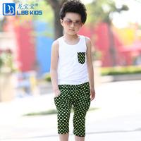 Children's clothing male child set summer 2014 child vest harem pants summer twinset