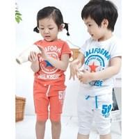 2014 male female child set 2 piece set children's clothing summer short-sleeve pullover child set