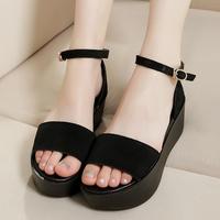 Genuine leather platform open toe wedges sandals black women's elevator platform