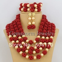 Gorgeous African Coral Beads Bridal Jewelry Set African Beads Jewelry Set for Wedding Free Shipping CNR090