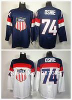 2014 Olympic 74 JT Oshie Team USA Hockey Jersey Blue Sochi  Ice Hockey Jersey Team USA T.J. Oshie Olympic Jersey Best Quality