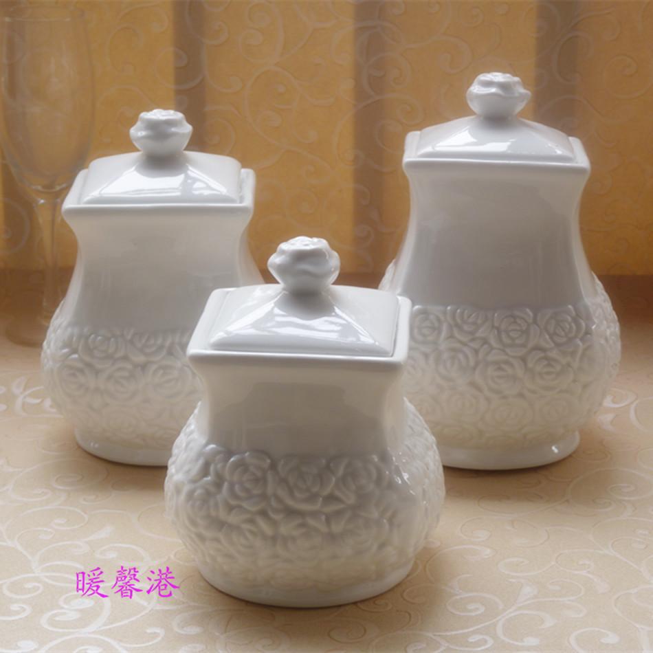 3pcs Porcelain Enamel da vasilha da cozinha Jogo de café Açúcar Chá Branco 3pcs cerâmica Doce Armazenamento Jars Set(China (Mainland))