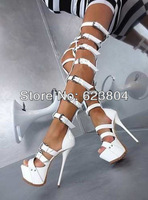 2014 latest summer boots over-the-knee platform high heeled summer boots black and white leather gladiator sandal boots