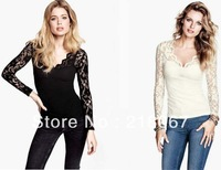 146336 Fashion Euro Style Sexy V-Neck Long Sleeve Hollow Out Lace Slim Blouse Women Elegant Unique Blouse Free Ship