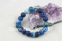 10mm Matte Blue Dream Fire Stripe Agate Gems Round Beads Stretchy Bracelet AA