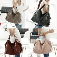 Fashion New Style Women Handbag Faux Leather Double Zipper Hobo Shoulder Bag