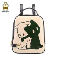 Double-shoulder women's handbag winter 2014 doodle backpack female preppy style travel school bag female