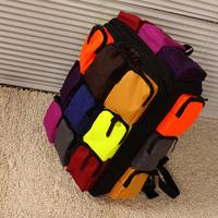 Personalized multicolour squared color block large multi-pocket backpack school bag travel big bag