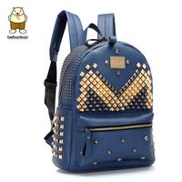 2014 personality vintage rivet backpack rivet backpack punk school bag 9522