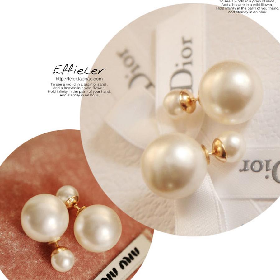Doubleside Pearl Stud Earrings Two Way Can Be Worn Earrings 2014 Spring