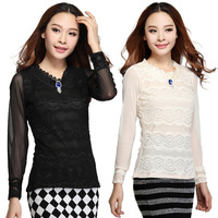Spring 2014 Office Ladies Korean  Women's Slim Lace plus size Blouses & Shirts Girl's Fashion Bodycon Tops  #8235