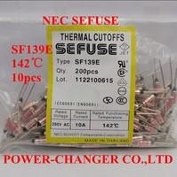 10PCS  SF139E 142C 142degree metal sefuse  thermal cutoffs Microtemp Thermal Fuse 10A250V Free Shipping