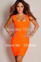 New 2014 Sexy Bandage Dress Orange Mini Bodycon Vestidos Casual Women Fashion Summer Dress Plus Size S-XL Free Shipping