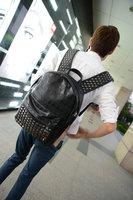 2015 new unisex black backpacks kpop exo fashion Rivets Backpack Schoolbag PU Leather Rivet Punk bag free shipping