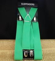 Fashion solid color 4 clips Mens braces pants suspenders  Netherlands orange color available S302