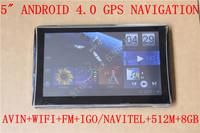 "FREE SHIPPING 5""  CAR GPS NAVIGATOR /NAVIGATION+TALPET PC  ANDROID4.0+AVIN+FM+WIFI+GO NAVITLE +MULTI-LANGUAGES+512M+1.2GHZ+8GB"
