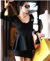 Wholesale - Women Girl Lady Fashion Sexy Black Lace Mini Clubbing long Cocktail Party Dress free shipping