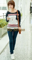 2014 New Fashion Women's Tops Casual Loose Batwing Stripe Blouse Long Sleeve T-shirt Plus size 3 Sizes 19094