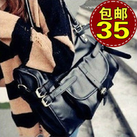 Big bags 2013 women's fashion handbag fashion vintage bag one shoulder cross-body casual dual-use bag black