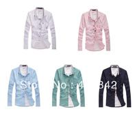 Hot Sale Mens Slim fit stylish casual long Sleeve dress shirts M-XXXL Free Wholesale
