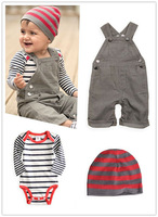 SY032 Free shipping  2014 new baby suit boy clothes overalls + baby romper + cap 3pcs/set baby boy suit top quality retail