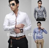 Fashion Men's Shirts Luxury Stylish Casual Slim Fit Dress Shirt Pink Gray White, Light Blue Size M L XL XXL Free Shipping