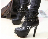 Fashion 2014 winter Boots High heelsbelt buckle boots Women Pumps Platform Round Toe Hollow Shoes ankle boots