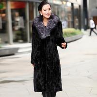 2013 mink blue fox ultra long fur collar mink fur overcoat outerwear